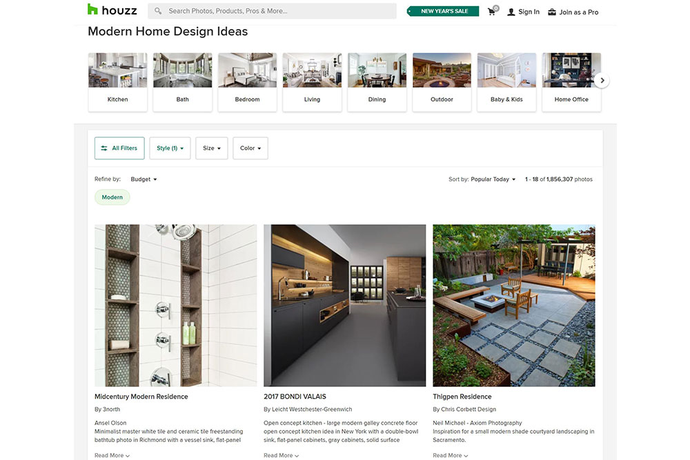 Houzz-browse-by-style