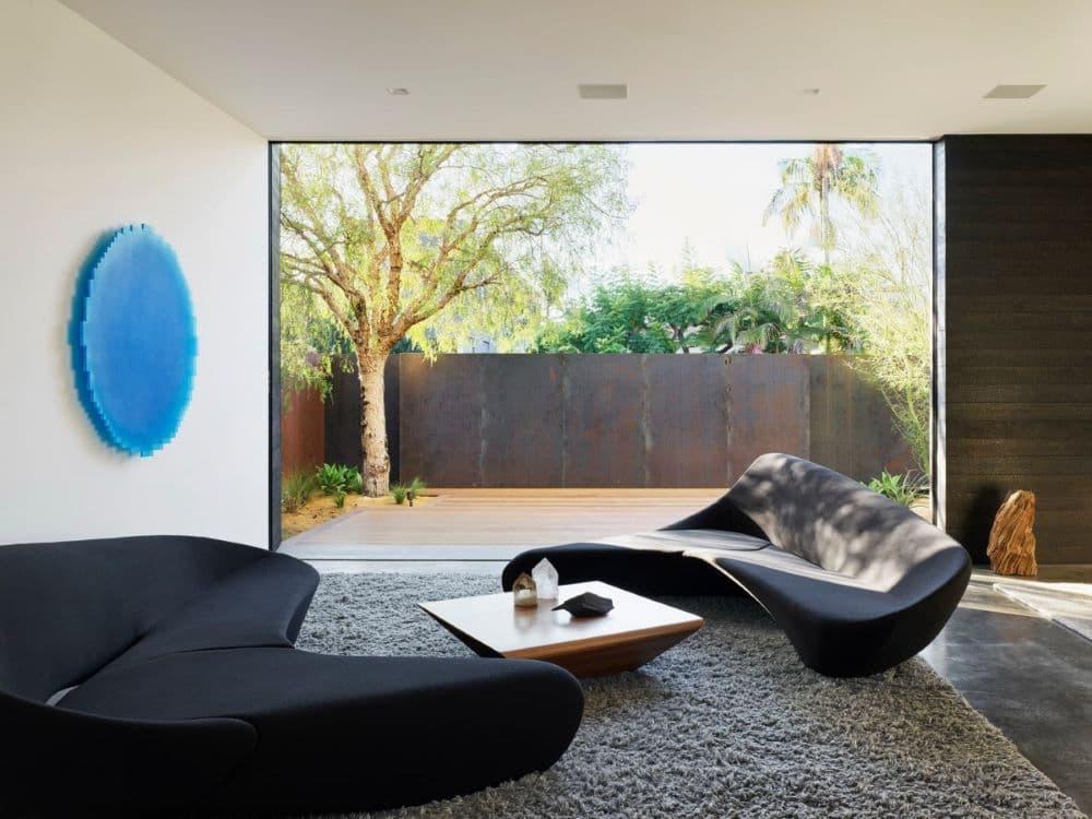 EYRC Architects Spectral Bridge House Interior Courtyard